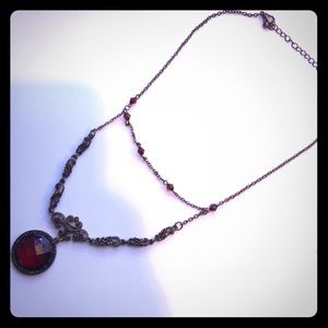 Jewelry - Vintage red and brass necklace